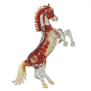 Murano Horse Crystal Red With Bubbles 4747