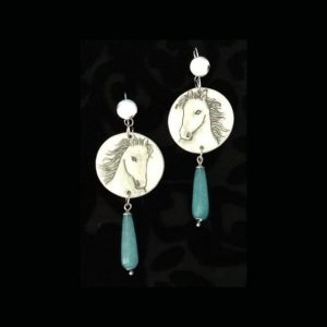 White Horse Earrings