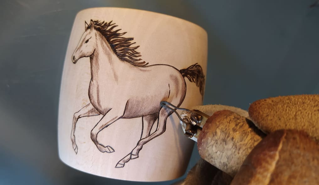 Pyrography Horses on Wooden Bracelets