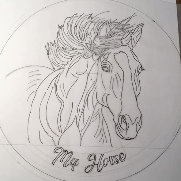 Your Horse Painted on a Plate Drawing