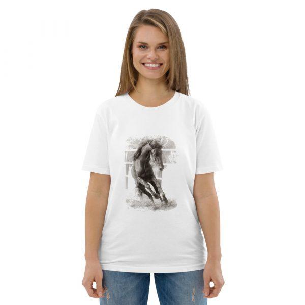 Unisex organic cotton t-shirt with horse