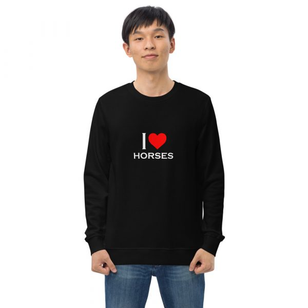 Unisex organic sweatshirt I Love Horses